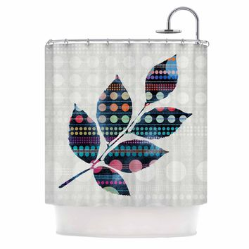 "Angelo Cerantola ""Uplifting"" Gray Black Geometric Floral Illustration Painting Shower Curtain"