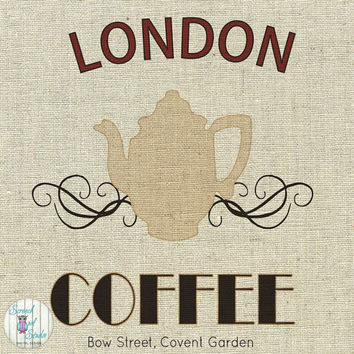 Printable Fabric Transfer Image, Digital Image, Paper Craft Supplies, Instant Art, Home Decor, Clipart - London, English Coffee Shop