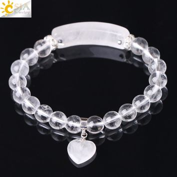 CSJA Reiki Boho Natural Gem Stone White Clear Quartz Rock Crystal Bracelet for Men Women Lover Heart Pendant Chakra Jewelry F277