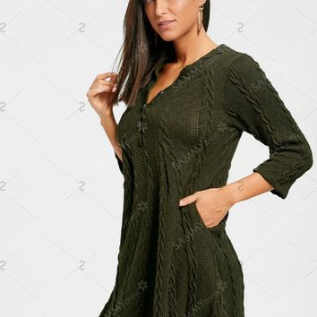 Cable Knitted Tunic Sweater with Button - Army Green - 2xl