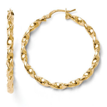 14k Yellow Gold Twisted Hoop Earrings
