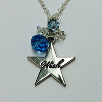 Pinocchio Blue Fairy Wish Upon a Star Inspired Necklace with Silver Star and blue and Clear Swarovski Crystals