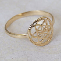 Gold Seed of Life Ring, Gold Flower of Life Ring, Sacred Geometric Ring, Ethnic Ring, Flower Ring, Round Ring