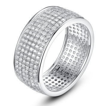 Sterling Silver Six Rows Micro Pave Cubic Zirconia Eternity Ring