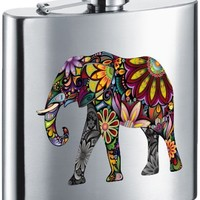 "Visol ""Flower Elephant"" Stainless Steel Hip Flask, 6-Ounce, Satin Finish, Chrome"