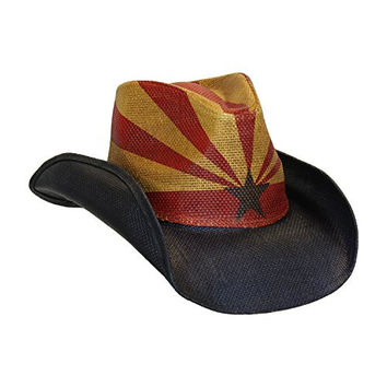 Unisex Arizona Flag Screen Printed Cowboy Hat w/ Shapeable Brim by Peter Grimm