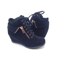 Black Suede Sneaker with Wedge and Zipper Detail