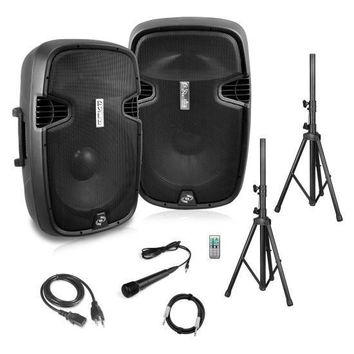 Active + Passive PA Speaker System Kit - Dual Loudspeaker Sound Package, 12'' Subwoofers, Bluetooth Wireless Streaming, Includes (2) Speaker Stands, Wired Microphone, Remote Control, 1800 Watt