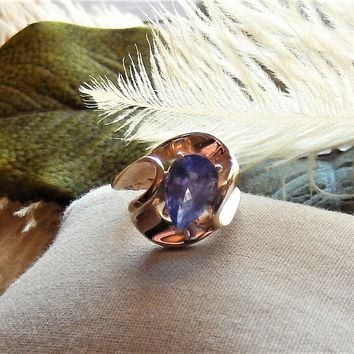 One of a Kind Custom 14K Yellow Gold 2 ct. Pear Cut Tanzanite Ring
