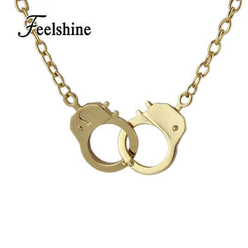 Steampunk Style Gold Silver Bronze Individual Design Handcuffs Necklaces & Pendants for Women Jewelry