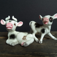 Vintage Cow Salt Pepper Shakers Bull Bovine Housewares Dining Serving Farmhouse Kitsch