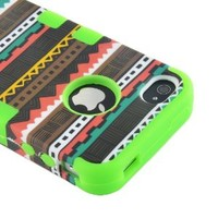 MagicSky Plastic + Silicone Tuff Dual Layer Hybrid Tribal Pink Case for Apple iPhone 4 4S 4G - 1 Pack - Retail Packaging - Green