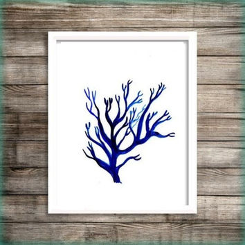 Sea coral Blue watercolor painting wall art print beach seaweed grass poster decor bathroom decal print art poster blue botanical sea life