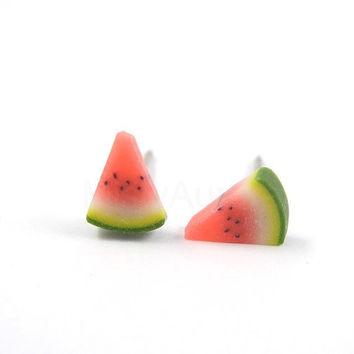 Watermelon Earring Studs - Fruit Earring Posts - Red Green Earrings - Polymer Clay Jewelry