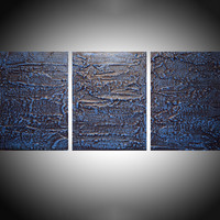 """ARTFINDER: """" Deeper shade of Blue """" triptych 3 panel wall art colorful blue tones in acrylic 3 piece panel wall abstract canvas abstraction 54 x 24"""" by Stuart Wright - """" Deep Shade of Blue """"  in shades of prussian b..."""
