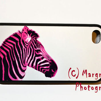 Hot Pink Zebra print iphone case 4, i phone 4 case 4s, pink zebra iphone cover by MargrafsPhotografs
