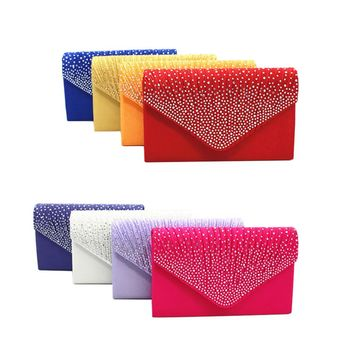 New Women's Solid Minaudiere Evening Bags with Rhinestones and Silvertone Chain.     Available in White, Gold, Light Purple, Silver, Black, Red, Sapphire Blue, Green, Rose Red, Lake Blue, Purple, Orange, Dark Blue and Beige.    ***FREE SHIPPING***