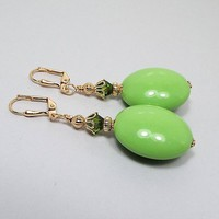 Lime Green Large Drop Earrings, Gold Plated, Mod Jewelry, Retro Style, Made with Vintage Lucite Beads, Summer Jewelry, Lever Back Hook