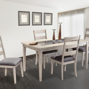Captiva Glass Insert Taupe Grey Dining Set