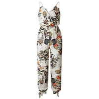 Feitong V Neck Sexy Bodysuits Women With Belt Body Femme Rompers Feminino Floral Playsuit Overalls Print Spring Summer Jumpsuit