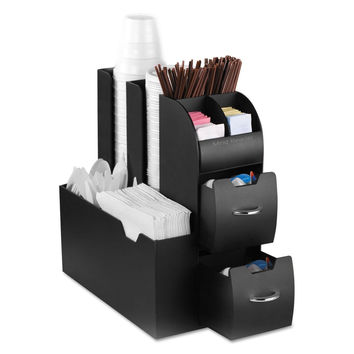 "Mind Reader ""Organizer"" Coffee Condiment and Accessories Caddy Black 6 1"
