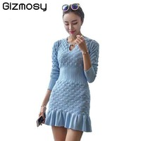Women Winter Sexy Dress Long Sleeve Thicken Party Slim Fit Package Hip Hedging Knitted Sweaters Dresses For women Hot Sale SY059