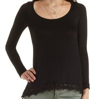 Crochet-Trim High-Low Swing Tee by Charlotte Russe