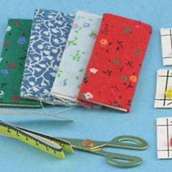 1:12 Scale Sewing Set-Fabric,Buttons,Scissors #IM66095