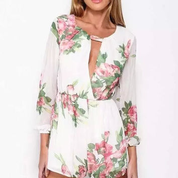Floral Print Keyhole Front Long-Sleeve Romper