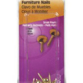The Hillman Group 122690 Brass Small Round Head Furniture Nail, 25-Pack