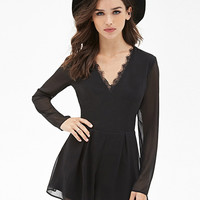 V-neck Lace Long Sleeve Sheath Pleated Romper
