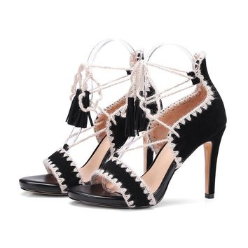 Hot Women Sandals Suede Leather Summer Women Shoes Open Toe Thin Heels Sandals Ankle Strap High Heels Sandals