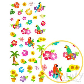 Tropical Birds Parrots Birds and Palm Trees Shaped Stickers  | Cute Animal Inspired Scrapbook Decorating Supplies
