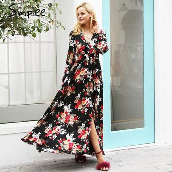 Elegant v neck floral print long dress women Long sleeve drawstring button autumn maxi dress Casual robe femme