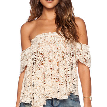bohemian BONES Frisco Lace Penelope Top in Cream