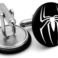 Spiderman Logo Black Cufflinks