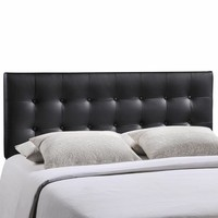 Emily Queen Vinyl Headboard Black