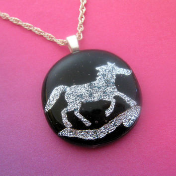Horse Necklace, Equine Pendant, Horse Jewelry, Fused Glass Necklace, Dichroic Horse Pendant - Wild Horses - 3577 -2