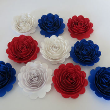 "American Theme Party Decorations, 10 large Red White and Royal Blue paper flowers, 3"" roses, Patriotic Wall Decor, Military Wedding art"