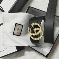 GUCCI tide brand men and women models pearl letter buckle fashion smooth buckle belt black