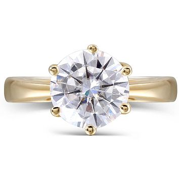 14K Yellow Gold 2CT Round Cut Moissanite Diamond Engagement Ring