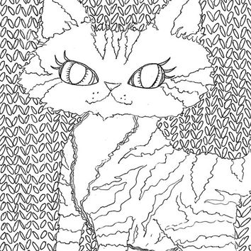 Digital Download Coloring Page,Adult Coloring,cat colouring,line drawing,Adult Coloring Page,Printable Digital Illustration,kitty Line Art