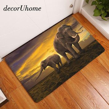 Autumn Fall welcome door mat doormat decorUhome  Anti-Slip  Waterproof Elephant Family Carpets Bedroom Rugs Decorative Stair Mats Home Decor Crafts AT_76_7