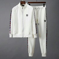Fendi 2018 new casual men's outdoor sports running suit two-piece white