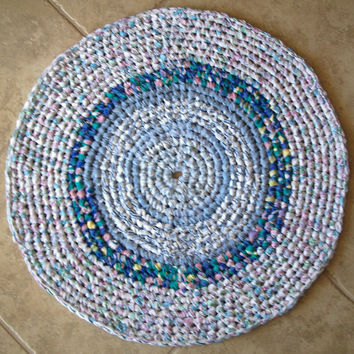 Bullseye Design - Round Crocheted Rag Rug in Blues - Made by Me - Shabby Chic, Cottage Style, Country, Upcycled, Recycled