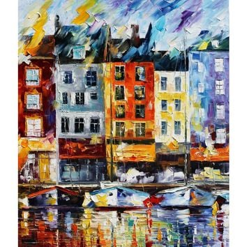 Honfleur, Normandie - Hand Painted Oil Knife  Wall Art Canvas