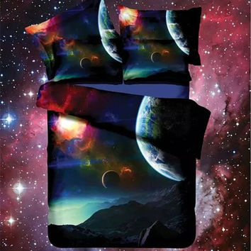 Hot 3d Galaxy bedding sets Twin/Queen Size Universe Outer Space Themed Bedspread 2/3/4pcs Bed Linen Bed Sheets Duvet Cover Set