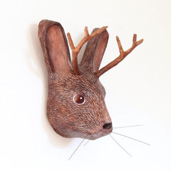 Paper mache wall mount head sculpture of mythical animal Jackalope, (unique collection animal decoration)