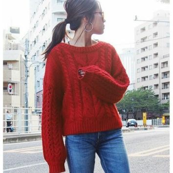 Recommended picks Big twist round collar pullovers Red