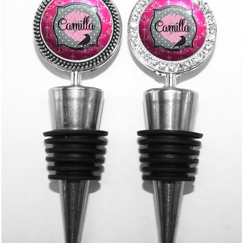 A219 - Personalized Bird and Flower Wine Stopper